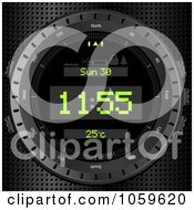 Royalty Free Vector Clip Art Illustration Of A 3d Digital Clock Face On Metal by elaineitalia