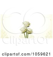 Royalty Free Vector Clip Art Illustration Of A Banner Of Ivory Roses With Petals On Cream by elaineitalia