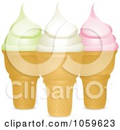 Royalty Free Vector Clip Art Illustration Of Pistachio Vanilla And Strawberry Ice Cream Cones by elaineitalia