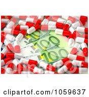Royalty Free CGI Clip Art Illustration Of 3d Prescription Pills Over Euro Cash