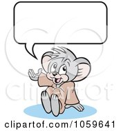 Royalty Free Vector Clip Art Illustration Of A Micah Mouse Sitting Under A Word Balloon by Johnny Sajem