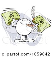 Royalty Free Vector Clip Art Illustration Of A Moodie Character Smoking A Cigar And Holding Cash