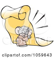 Royalty Free Vector Clip Art Illustration Of A Micah Mouse Holding Up A Scroll Memo by Johnny Sajem