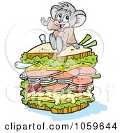 Royalty Free Vector Clip Art Illustration Of A Micah Mouse Sitting On A Big Sandwich by Johnny Sajem