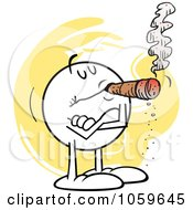Royalty Free Vector Clip Art Illustration Of A Smug Moodie Character Smoking A Cigar by Johnny Sajem