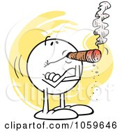 Royalty Free Vector Clip Art Illustration Of A Relaxed Moodie Character Smoking A Cigar by Johnny Sajem