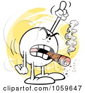 Royalty Free Vector Clip Art Illustration Of A Mad Moodie Character Smoking A Cigar And Pointing Up by Johnny Sajem