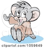 Royalty Free Vector Clip Art Illustration Of A Micah Mouse Sitting And Presenting by Johnny Sajem