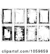 Royalty Free Vector Clip Art Illustration Of A Digital Collage Of Black And White Grunge Frames 2 by michaeltravers