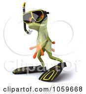 Royalty Free CGI Clip Art Illustration Of A 3d Springer Snorkel Frog 1
