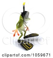 Royalty Free CGI Clip Art Illustration Of A 3d Springer Snorkel Frog 2