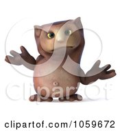 Royalty Free CGI Clip Art Illustration Of A 3d Owl Character Shrugging by Julos