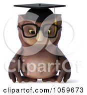Royalty Free CGI Clip Art Illustration Of A 3d Owl Professor Character Pouting by Julos