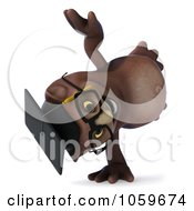 Royalty Free CGI Clip Art Illustration Of A 3d Owl Professor Character Doing A Hand Stand by Julos