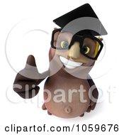 3d Owl Professor Character Holding A Thumb Up