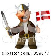 Royalty Free CGI Clip Art Illustration Of A 3d Young Viking Holding A Flag 2