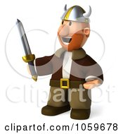 Royalty Free CGI Clip Art Illustration Of A 3d Young Viking With A Sword 2