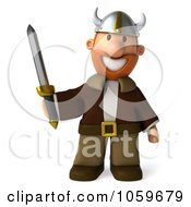 Royalty Free CGI Clip Art Illustration Of A 3d Young Viking With A Sword 1