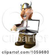 Royalty Free CGI Clip Art Illustration Of A 3d Young Viking Pointing A Sword At A Laptop 1