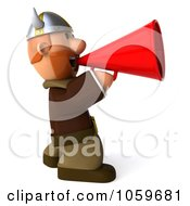 Royalty Free CGI Clip Art Illustration Of A 3d Young Viking Facing Right And Using A Megaphone