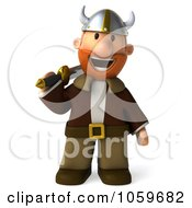 Royalty Free CGI Clip Art Illustration Of A 3d Young Viking With A Sword 3