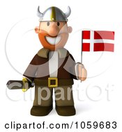 Royalty Free CGI Clip Art Illustration Of A 3d Young Viking Holding A Flag 1