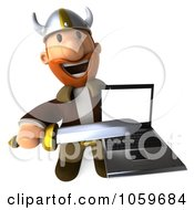 Royalty Free CGI Clip Art Illustration Of A 3d Young Viking Pointing A Sword At A Laptop 2