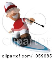 Royalty Free CGI Clip Art Illustration Of A 3d Jockey Man Surfing 2 by Julos