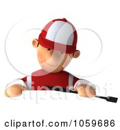 Royalty Free CGI Clip Art Illustration Of A 3d Jockey Man Looking Down At A Blank Sign by Julos