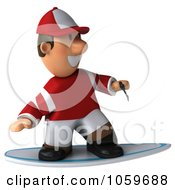 Royalty Free CGI Clip Art Illustration Of A 3d Jockey Man Surfing 1 by Julos