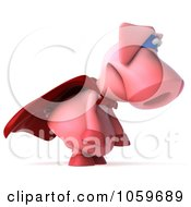 Royalty Free CGI Clip Art Illustration Of A 3d Super Hero Pookie Pig Pouting by Julos
