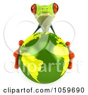 Royalty Free CGI Clip Art Illustration Of A 3d Argie Tree Frog Hugging The Earth by Julos