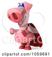 Royalty Free CGI Clip Art Illustration Of A 3d Super Hero Pookie Pig Facing Left by Julos