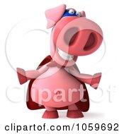 Royalty Free CGI Clip Art Illustration Of A 3d Super Hero Pookie Pig Gesturing by Julos