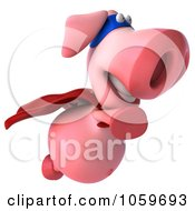 Royalty Free CGI Clip Art Illustration Of A 3d Super Hero Pookie Pig Flying by Julos