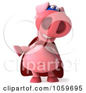Royalty Free CGI Clip Art Illustration Of A 3d Super Hero Pookie Pig Laughing And Gesturing by Julos