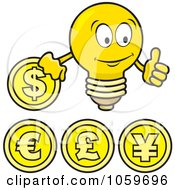 Royalty Free Vector Clip Art Illustration Of A Digital Collage Of Coins And A Light Bulb