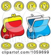 Royalty Free Vector Clip Art Illustration Of A Digital Collage Of Coins And Change Purses by Any Vector