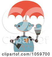 Royalty Free Vector Clip Art Illustration Of A Springy Robot With An Umbrella Head