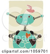 Royalty Free Vector Clip Art Illustration Of A Springy Robot With A Bird On His Head by mheld #COLLC1059701-0107