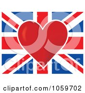 Red Heart In The Center Of A British Flag