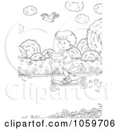 Royalty Free Clip Art Illustration Of A Coloring Page Outline Of A Coloring Page Outline Of A Bird Flying Over A Boy On A Scooter by Alex Bannykh