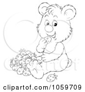 Royalty Free Clip Art Illustration Of A Coloring Page Outline Of A Bear Eating Strawberries