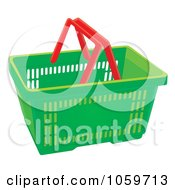 Royalty Free Clip Art Illustration Of A Green Shopping Basket With Red Handles by Alex Bannykh