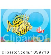 Royalty Free Clip Art Illustration Of A Lion And Clown Fish Over A Coral Reef by Alex Bannykh