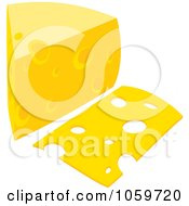 Royalty Free Vector Clip Art Illustration Of A Slice And Wedge Of Cheese