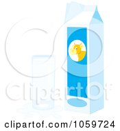 Royalty Free Vector Clip Art Illustration Of A Carton And Glass Of Milk With A Splash by Alex Bannykh