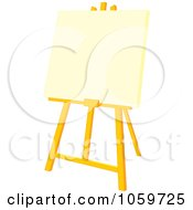 Royalty Free Vector Clip Art Illustration Of A Blank Canvas On An Easel