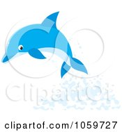 Royalty Free Vector Clip Art Illustration Of A Leaping Dolphin And Water Splashing by Alex Bannykh