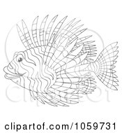 Royalty Free Clip Art Illustration Of A Coloring Page Outline Of A Lion Fish by Alex Bannykh